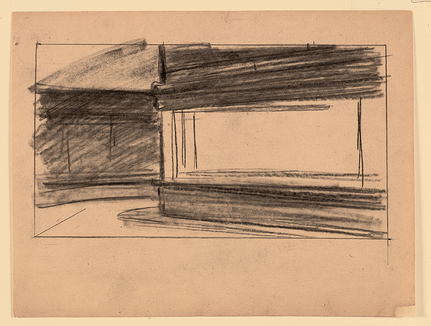 dessin préparatoire pour Oiseaux de nuit de Hopper
