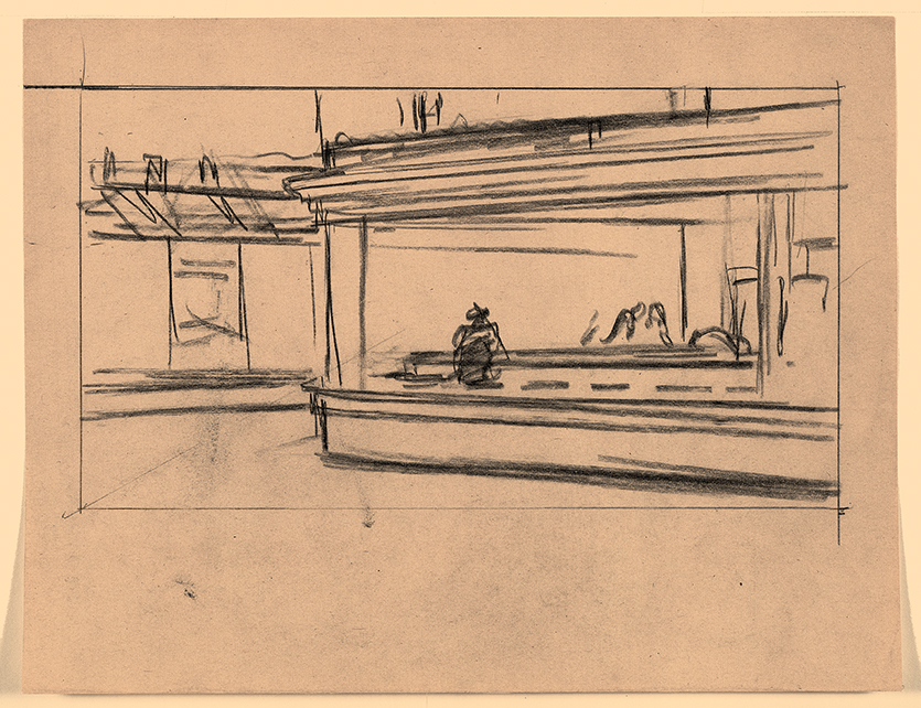 dessin 2 préparatoire pour Oiseaux de nuit de Hopper