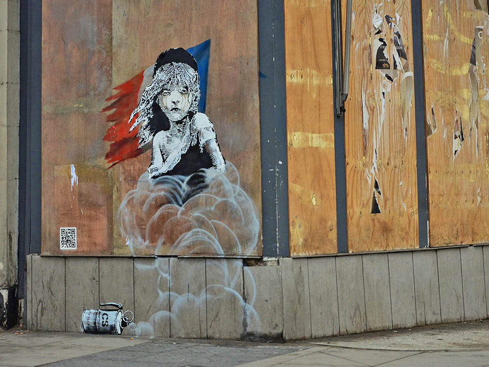 Banksy ambassade de France à Londres 2016